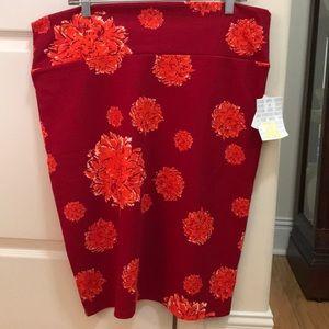 Lularoe Cassie red floral pencil skirt